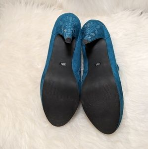 Impo Shoes - Impo Peacock Blue Teal Faux Suede Booties